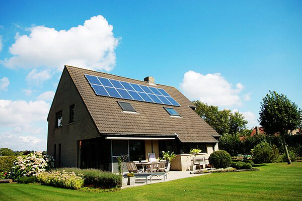 home with solar panels installed
